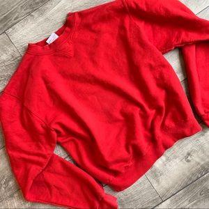 Ladies plain red Champion pullover crewneck